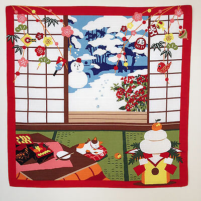 Japanese wrapping cloth FUROSHIKI -Mike no Hatsuyume (Cat in the New Year)