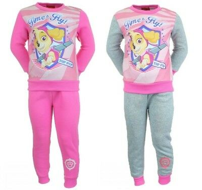 Girls Paw Patrol Nickelodeon 2 Piece Top & Joggers Skye Jog Suits Tracksuits NEW