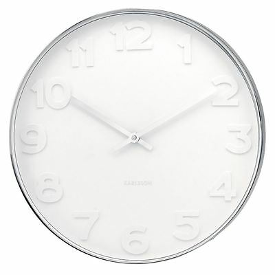 Karlsson Mr. White Numbers Large 51cm Steel Wall Clock Unique Modern Timepiece