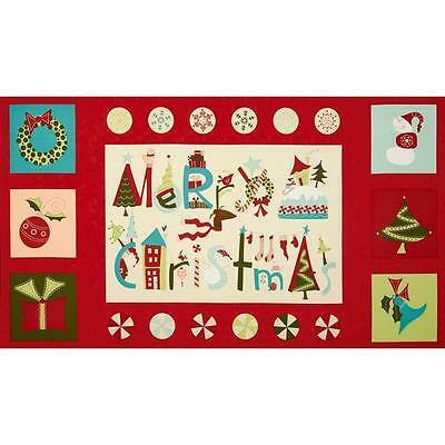 Very Merry Moda  Quilt Panel.....free Post..christmas Red...in Stock