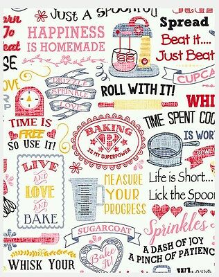 Baking * Homemade Happiness Fabric * New * In Stock * Free Post *