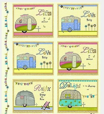 Happy Camper Quilt Panel * New * In Stock * Free Post *