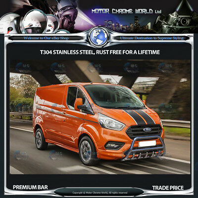 FORD TRANSIT CUSTOM BULL BAR CHROME AXLE NUDGE A-BAR 60mm 2012+UP FRONT-WD NEW
