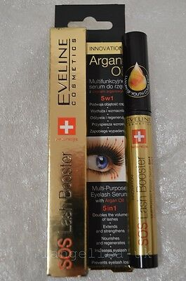 Eveline SOS Lash Booster 5in1 10ml Eyelashes Conditioner with Argan, NEW in BOX