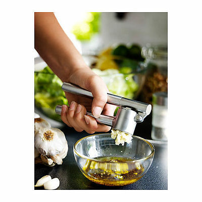 IKEA Heavy Duty Stainless Steel Garlic Squeezer Crusher Press Removable Insert