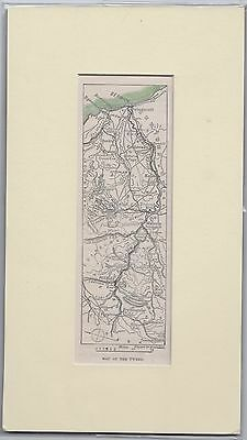 c1890 Hand coloured & mounted engraving/ print - Map of the Tweed