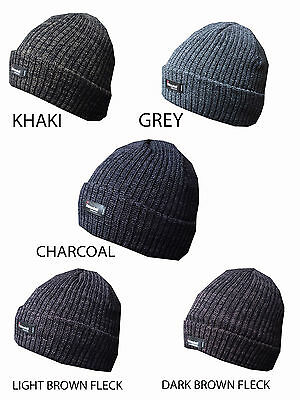 7ed70eb00efcf9 Mens Turn Up Malange Thinsulate Beanie Hat Thermal 5 Colours Winter Fleece  Lined