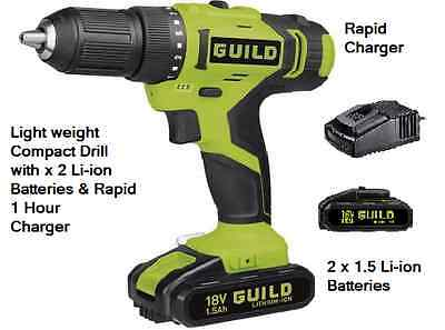 Guild 18V Li-Ion Hammer Drill With X 2 1.5 Li-Ion Batteries