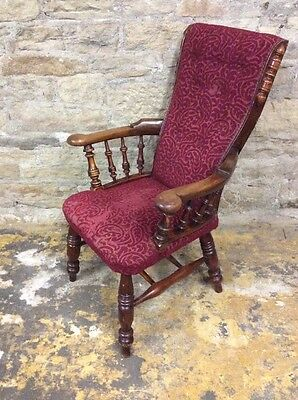 Vintage Smokers Bow High Back Chair-Red Upholstery