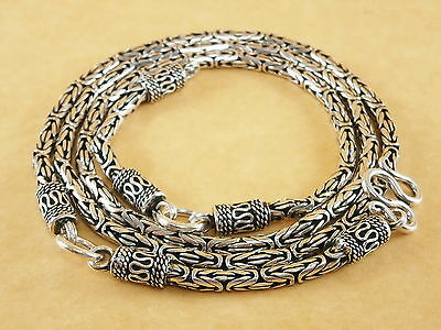 "New Byzantine Bali 925 Sterling Silver Amulet Pendant Necklace Chain 3mm 26"" 49g"
