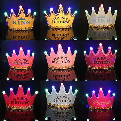 Princess LED Light Birthday Party Hats Crown Birthday Party Cap Children Kids