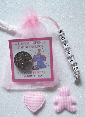 PERSONALISED LUCKY FIRST SIXPENCE 1st BIRTHDAY GIRL GOOD LUCK CHARM TEDDYBEAR