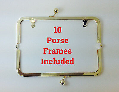 "10 PIECES 8""x3"" Metal purse frames Shiny GOLDTONE with Chain Loops USA Seller"