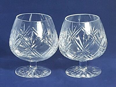 Beautiful Pair of Quality and Heavy Cut Glass Crystal Brandy Glasses.