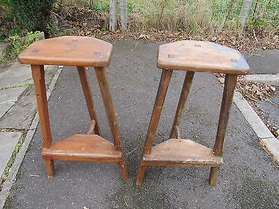 Pair of 1920's, antique, elm Artisan tripod stools in need of rub down & polish