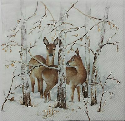 DEER IN THE WOODS FOUR(4) single COCKTAIL paper napkins for decoupage 3-ply