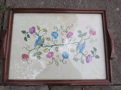 Antique Edwardian tray with embroidered silk below glass