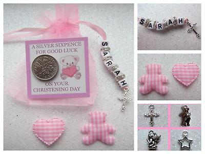 PERSONALISED LUCKY SIXPENCE CHRISTENING DAY GIFT BABY GIRL with Heart & Teddy