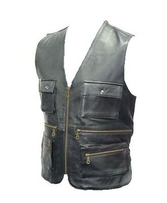 New Mens Real Leather Multi pocket Hunting, Fishing, Jungle Biker Waistcoat/Vest