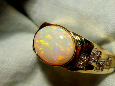 Mens Opal Ring 14ct Yellow Gold & Diamond, Natural Solid Opal 10x8mm Oval #90215
