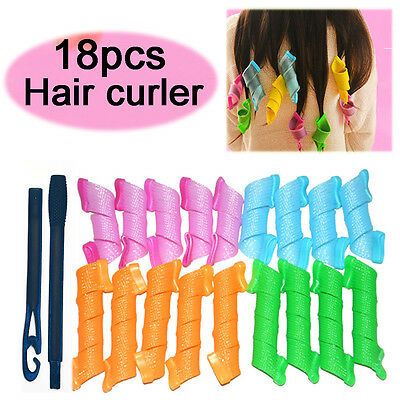 18pcs Stretchy Magic Hair Curlers DIY Leverage Formers Spiral Rollers Styling