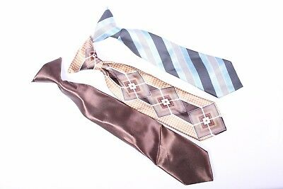 George geometric solid diagonal striped brown tan blue gray tie lot of 3