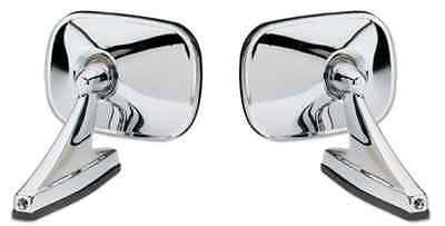 NOS Pair chrome rectangle mirrors Hot Rod Muscle Car Side View Mirrors