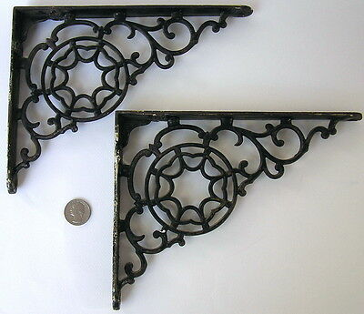 Pair Vintage Antique Cast Iron Victorian Shelf Brackets Spider Web Nantucket MA