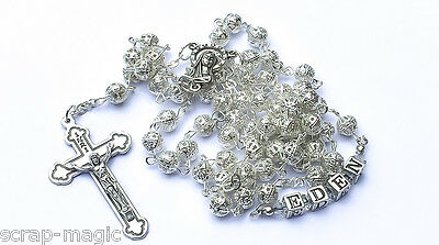 Silver Filigree Personalised Rosary Beads with your name in sterling silver