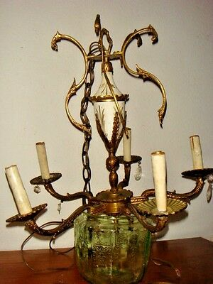 "Vintage marked Spain  CHANDELIER Brass  5 Lights Arms about 20"" needs attention"