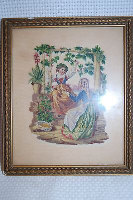 Rare Antique Framed Embroidery Needlepoint Petit Point Tapestry Art - Sweet