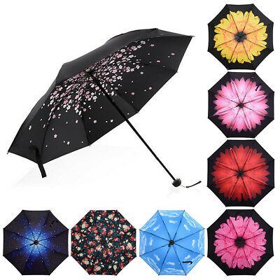 Folding Compact Umbrella Windproof Flower Rain Anti-UV Sun Parasol Black Coated