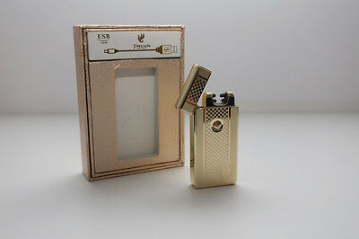 NEW Electric Dual Arc Windproof Flameless Cigarette USB Lighter Gold Checkered