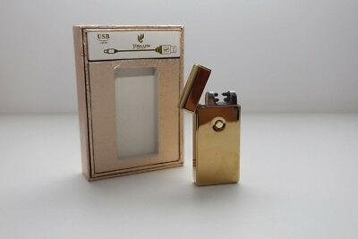 NEW Electric Dual Arc Windproof Flameless Cigarette USB Lighter Gold AUS STOCK