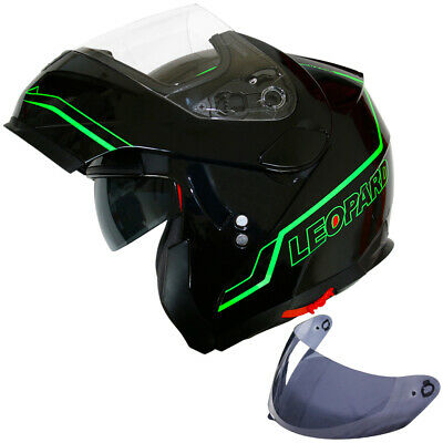LEOPARD LEO-839 Flip up Front Motorbike Helmet Matt Black DVS Motorcycle Crash