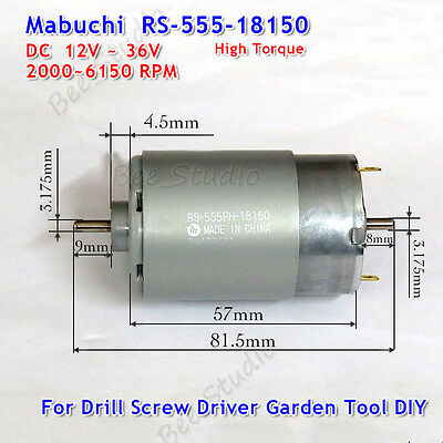 Dc 12V-36V High Torque Mabuchi RS-555PH Motor for Drill Screw Driver Garden Tool