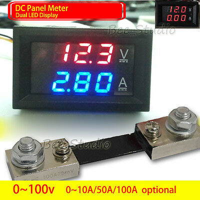 DC 12v 24v Digital LED Display Voltmeter Ammeter Meter Panel Voltage Current