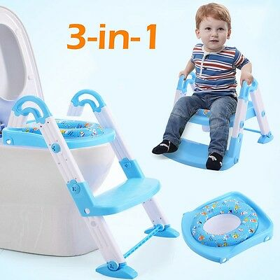 US Home 3 in 1 Baby Potty Training Toilet Chair Seat Step Ladder Trainer Toddler