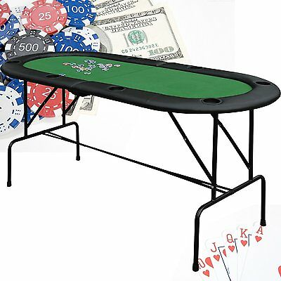 "HomCom Poker Cards Table 73"" x 33"" Texas Hold 'em 8 Players w/ Cup Holders NEW"