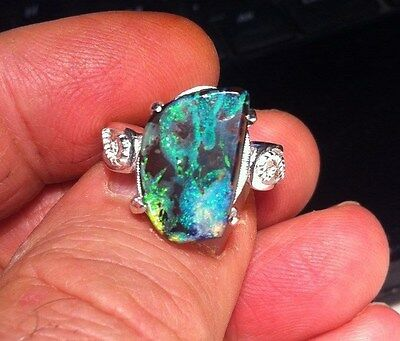 Ring. Sterling Siver jewelry .Australian Solid Boulder Opal. OCT. N or 6 1/2