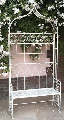 Antique Cream Ornate Scroll Wrought Iron Garden Arbour Seat