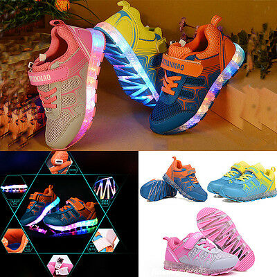 Kids Boys Girls USB Charger LED Light Luminous Lace Up Trainers Sneakers Shoes