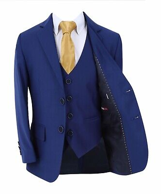 Boys Formal Blue Suit, Italian Page Boy Wedding Prom Communion Night Blue Suits