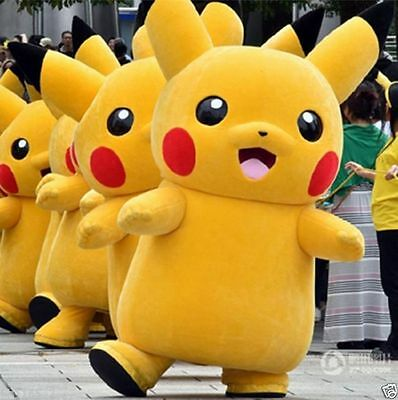 Christmas Party Pokemon Go Cosplay game Pikachu Adult Mascot Costume Xmas Gift