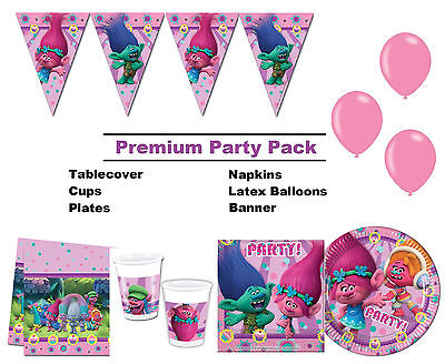 Dreamworks Trolls | Poppy 8-48 Guest Premium Party Pack | Bunting | Balloons