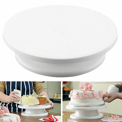 11 Rotating Revolving Cake Plate Decorating Turntable Kitchen Display Stand J@~