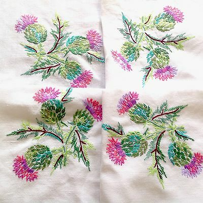 Vintage Hand Embroidered White Linen Scottish Thistle Tablecloth 41x41 Inches