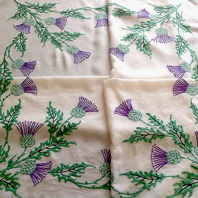 Vintage Hand Embroidered Cream Scottish Thistle Tablecloth 39x43 Inches