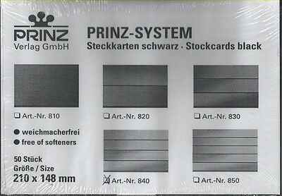 High quality Prinz System black stockcards 210x148mm - 4 strips pack of 50 cards