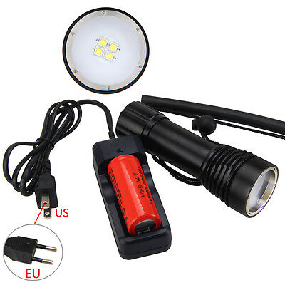 Diving Underwater 8000LM 4x XM-L2 LED Photograph Video Flashlight Light 26650